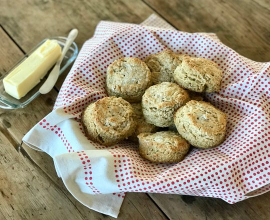 Buttermilk Biscuits are excellent topped with cultured butter and marmalade.
