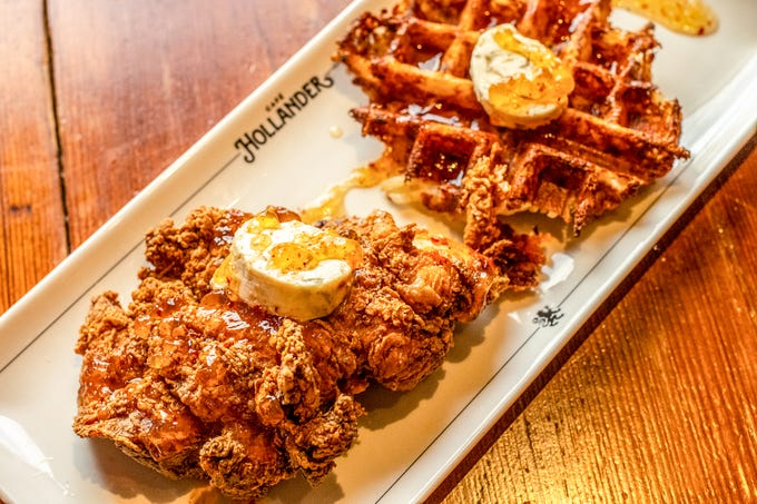 Café Hollander's new brunch menu is served 7 days a week and includes such additions as the Chicken and Wafflebrown. A wafflebrown is a hash brown made with shallots and white cheddar in a waffle iron.