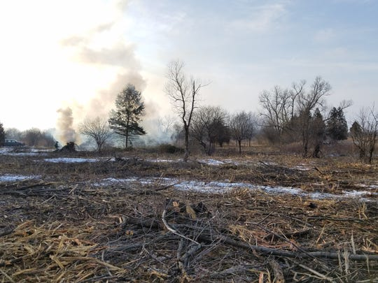 A portion of Bluff Creek State Natural Area in Walworth County is burned as part of a habitat improvement project funded through donations to Cherish Wisconsin Outdoors Fund.