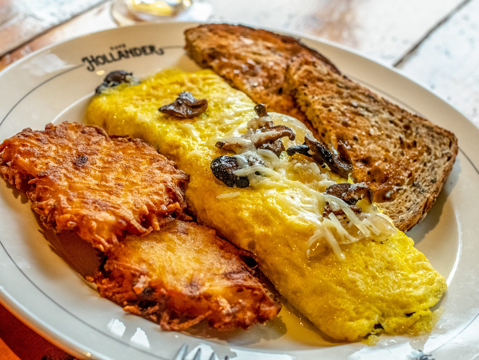 The Mushroom and Gruyère Omelette is made with Gruyère, roasted mushrooms and caramelized onions.