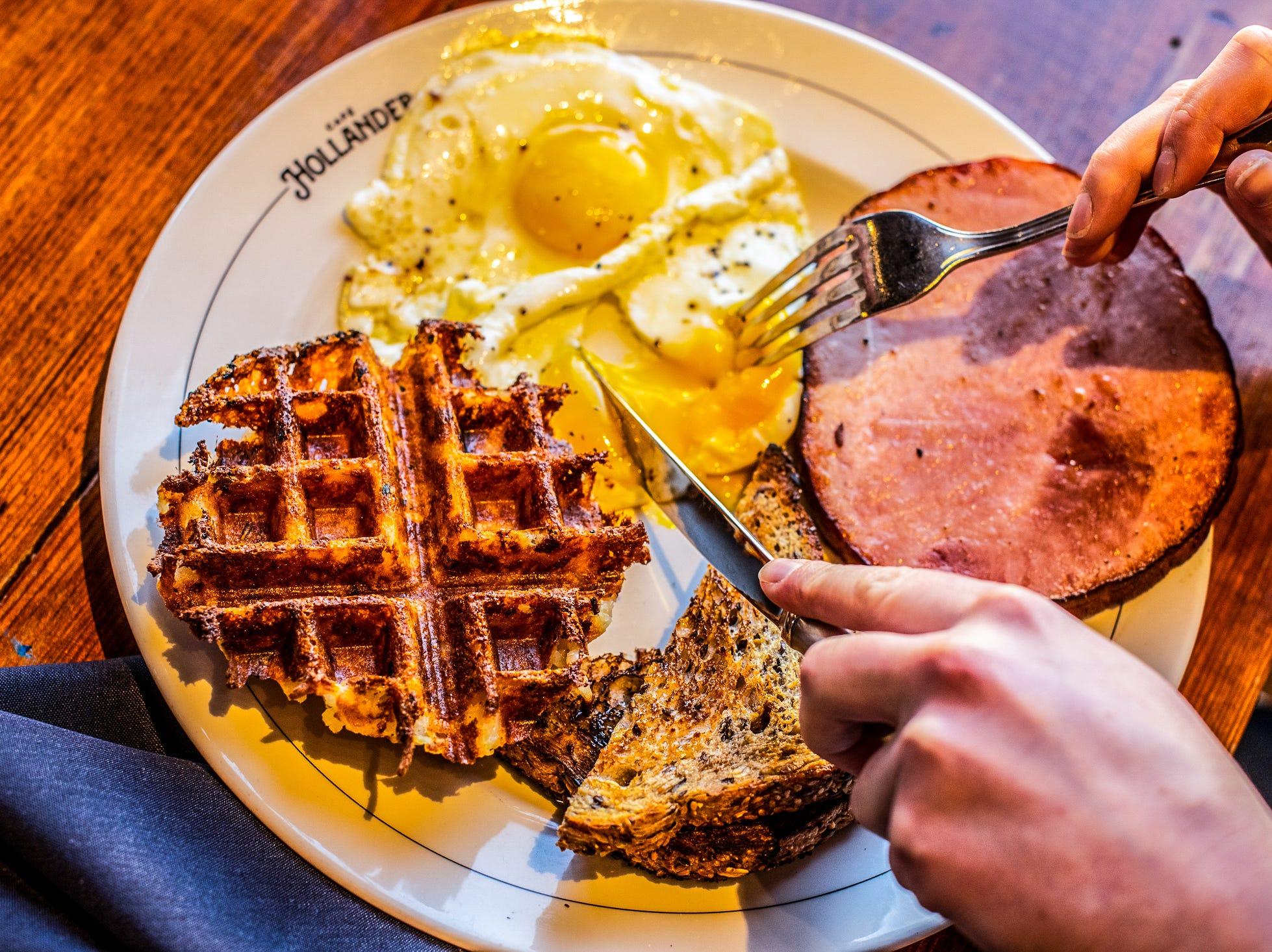 The Pan Seared Ham Steak is half a pound of local Badger ham and comes with two eggs any style, a wafflebrown and multigrain toast.