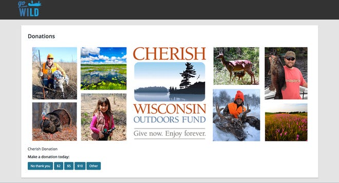 This screenshot from the Go Wild website shows the page on which license buyers may donate to the Cherish Wisconsin Outdoors Fund.
