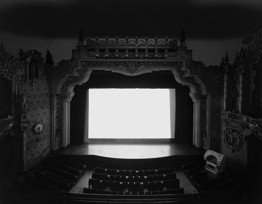 """Hiroshi Sugimoto photograph, titled """"Carpenter Center, Richmond,"""" was compared with another image of a film screen in one of Nigel Poor's courses at San Quentin."""