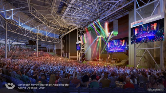 A rendering of the new seating bowl inside Summerfest's American Family Insurance Amphitheater. The venue will still be about 23,000 capacity, but will add more aisles and wider pathways, and feature better sightlines.