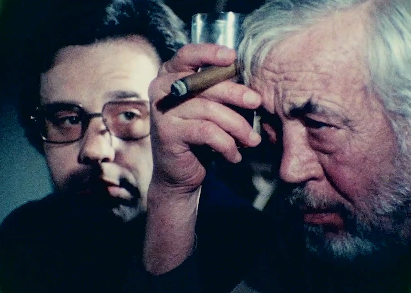 "John Huston (right) plays a legendary filmmaker trying to make a comeback and Peter Bogdanovich is an acolyte who's more successful than his mentor in ""The Other Side of the Wind."" The movie, filmed from 1970 to 1976, has been completed and is launching on Netflix Nov. 2, 2018."