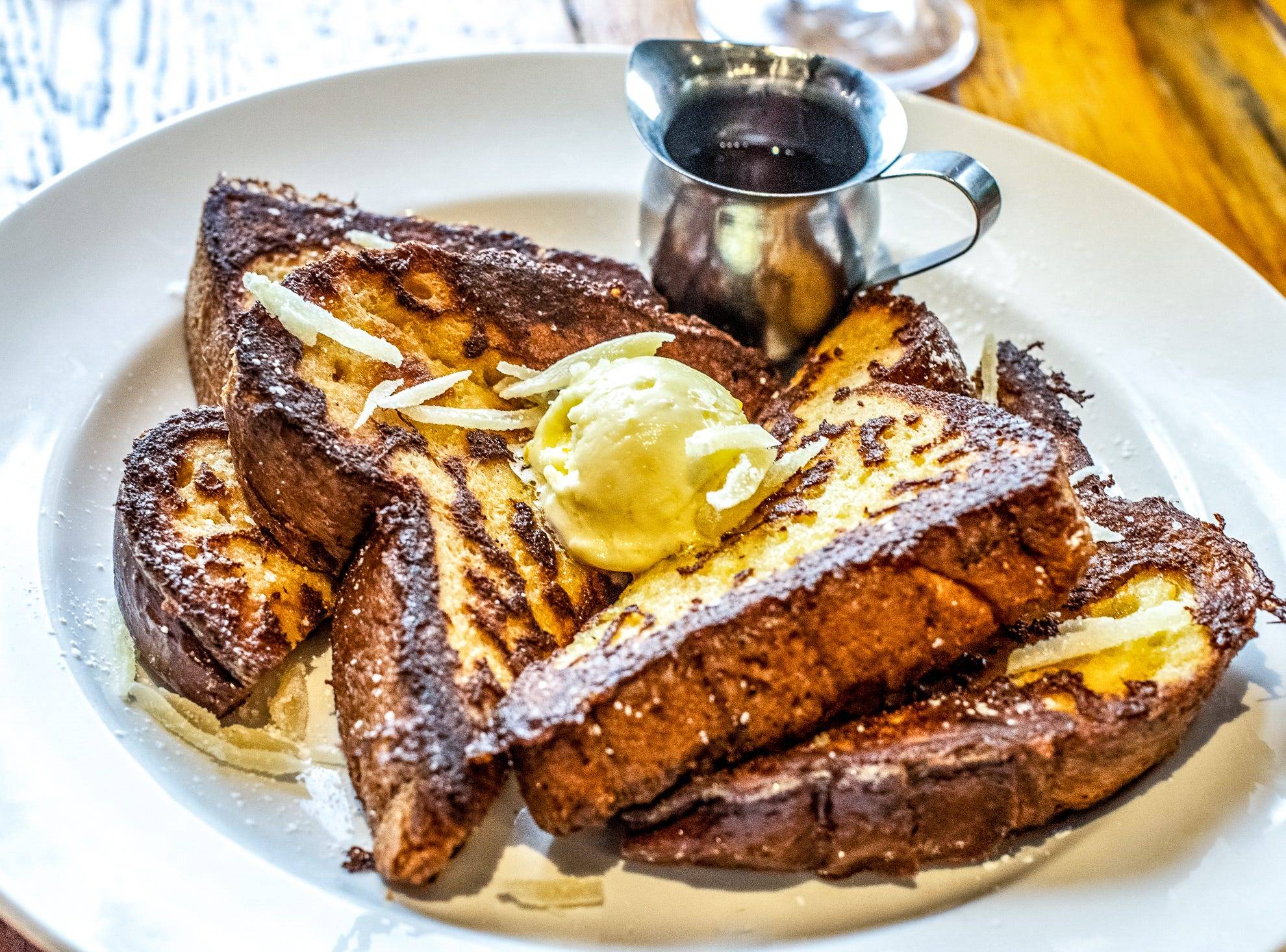 Hollander's Toast of France is Challah with orange ginger honey butter and candied ginger.