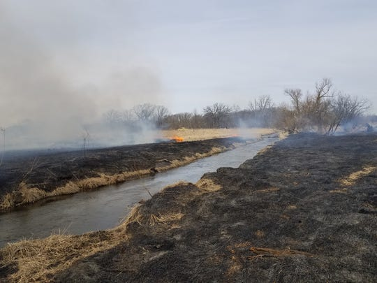 A controlled burn was used to improve habitat at Bluff Creek State Natural Area in Walworth County. The work was conducted by the Wisconsin Department of Natural Resources and funded by donations to the Cherish Wisconsin Outdoors Fund.