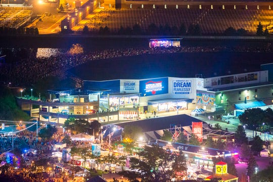 An aerial view of the American Family Insurance Amphitheater at night, before the $50 million rebuild began in September.