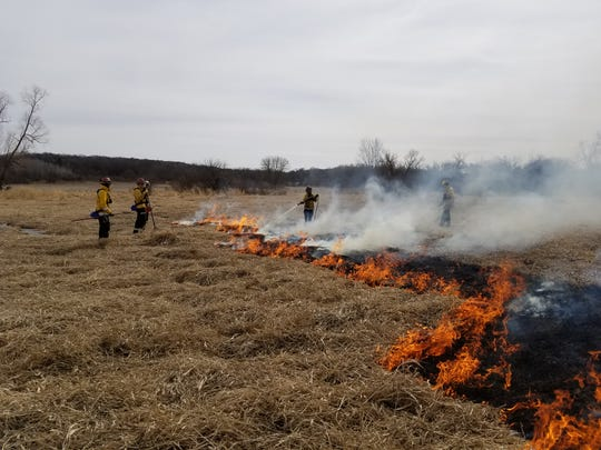 Department of Natural Resources employees conducted a controlled burn at Bluff Creek State Natural Area in Walworth County. The habitat improvement work was funded by donations to the Cherish Wisconsin Outdoors Fund.