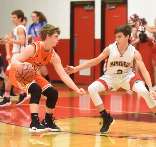 Viola's Brandon Martin is defended by Norfork's Tyler Sorters during the Longhorns' 64-59 victory over the Panthers on Tuesday night.