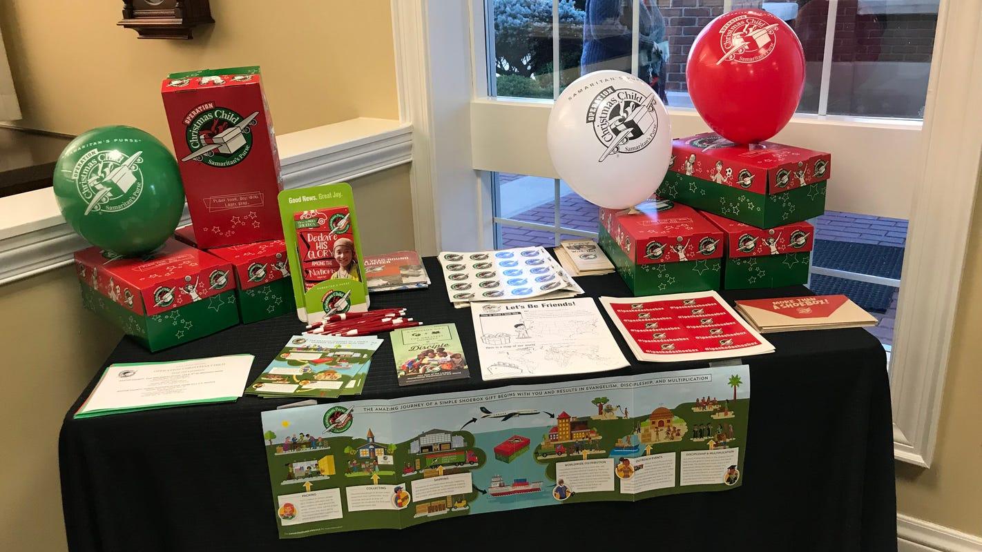 Operation Christmas Child Shoebox Display.Arvest Supports Occ
