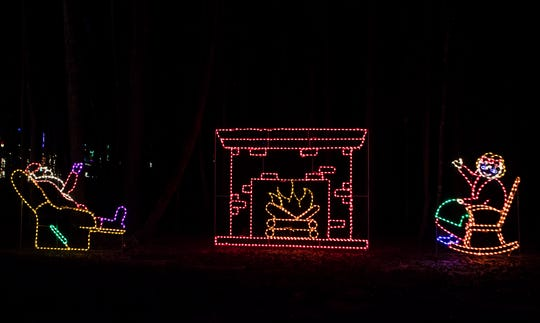 One of the many lighted displays at Candy Cane Lane in Calhoun, La. on Oct. 30. While most of the drive-thru light display is finished, it isn't planned to open to the public until Nov. 16.