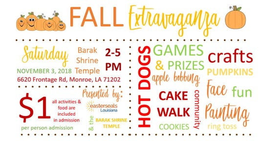 The first Fall Extravaganza  is Saturday at Barak Shrine Temple.