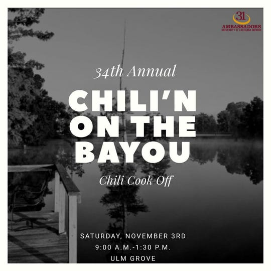 The ULM Chili Cook Off is Saturday at the Grove.