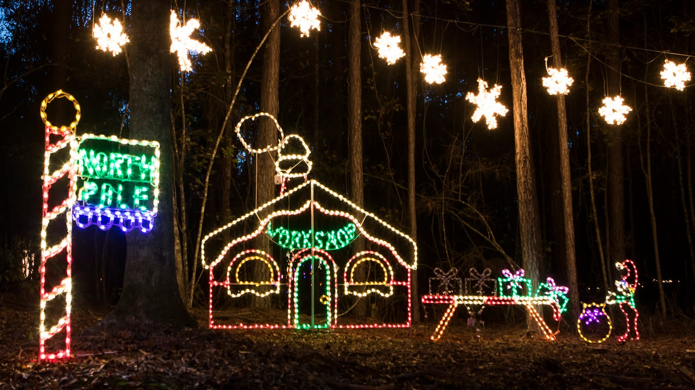 Candy Cane Lane Christmas light park in