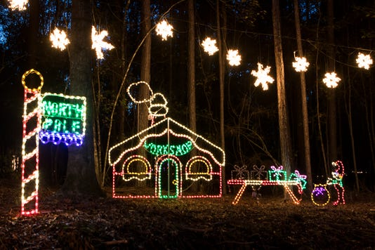 Buy Photo. One of the many lighted displays at Candy Cane Lane ... - Candy Cane Lane Christmas Light Park In Calhoun Will Open Early
