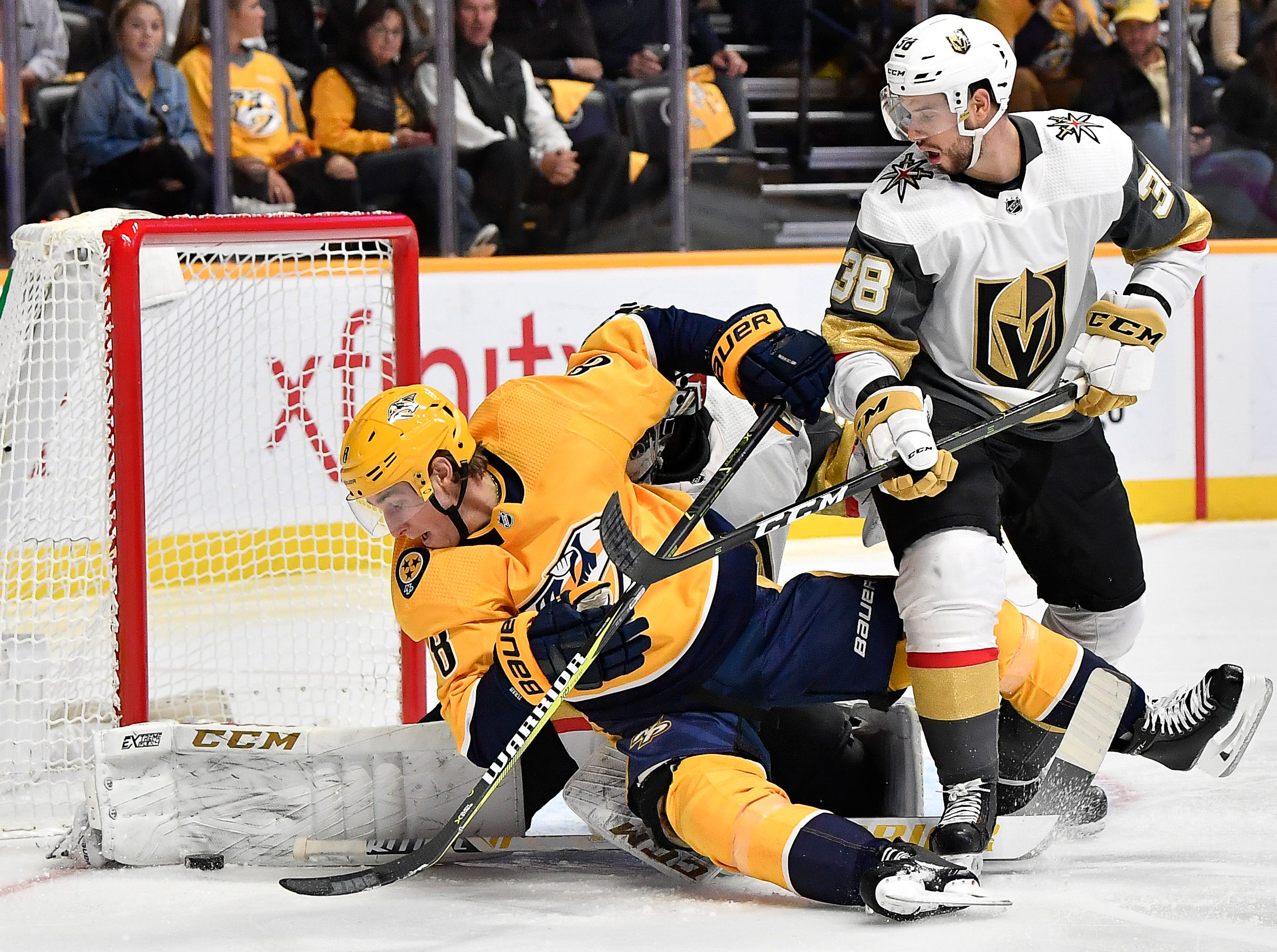 Predators center Kyle Turris (8) tries to shoot the puck past Golden Knights goaltender Malcolm Subban (30) and right wing Tomas Hyka (38) during the first period at Bridgestone Arena Tuesday, Oct. 30, 2018, in Nashville, Tenn.