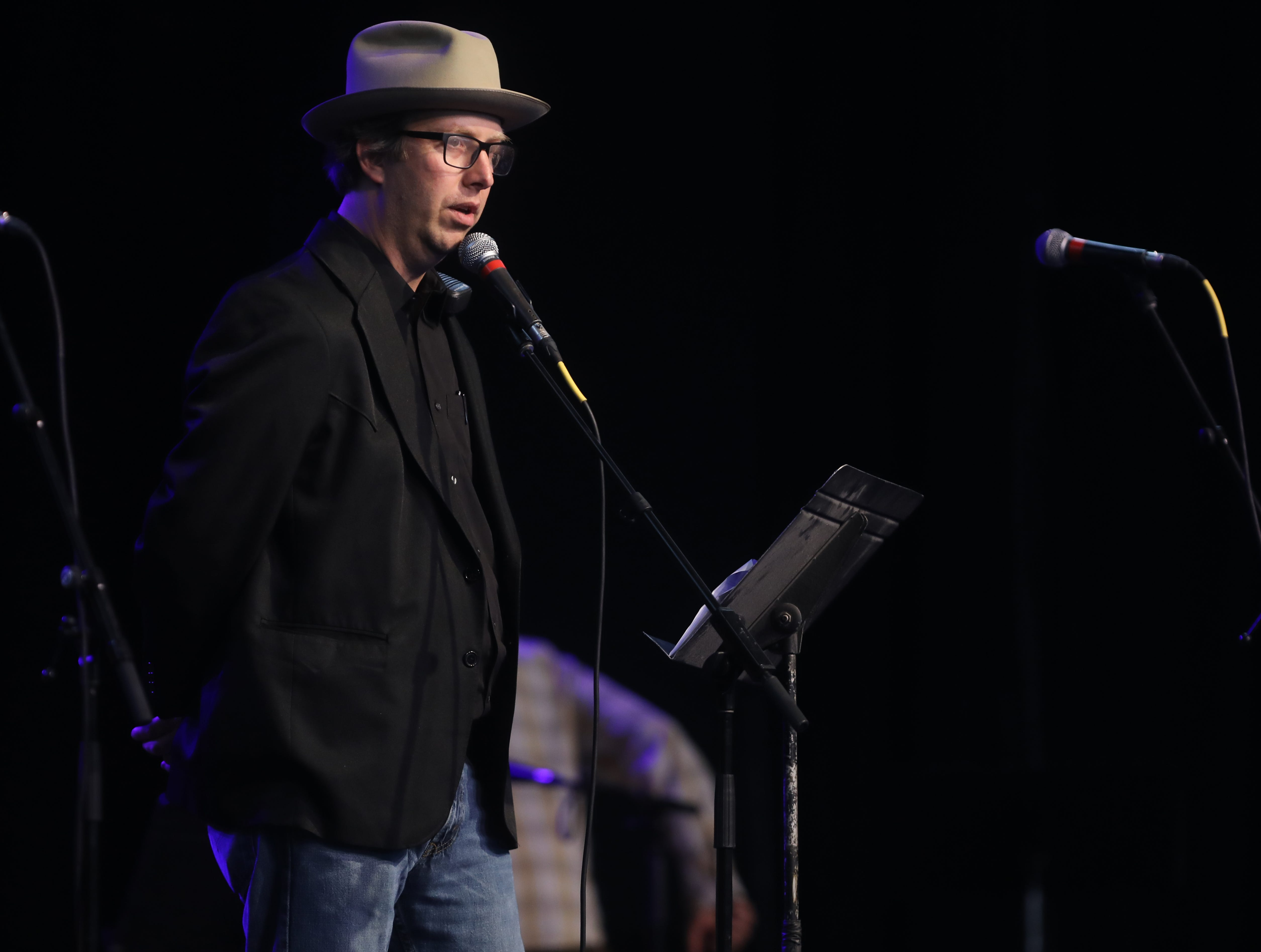 Jordan Powell speaks during a Celebration of Life service held for singer-songwriter Tony Joe White at Marathon Music Works Wednesday, October 31, 2018.