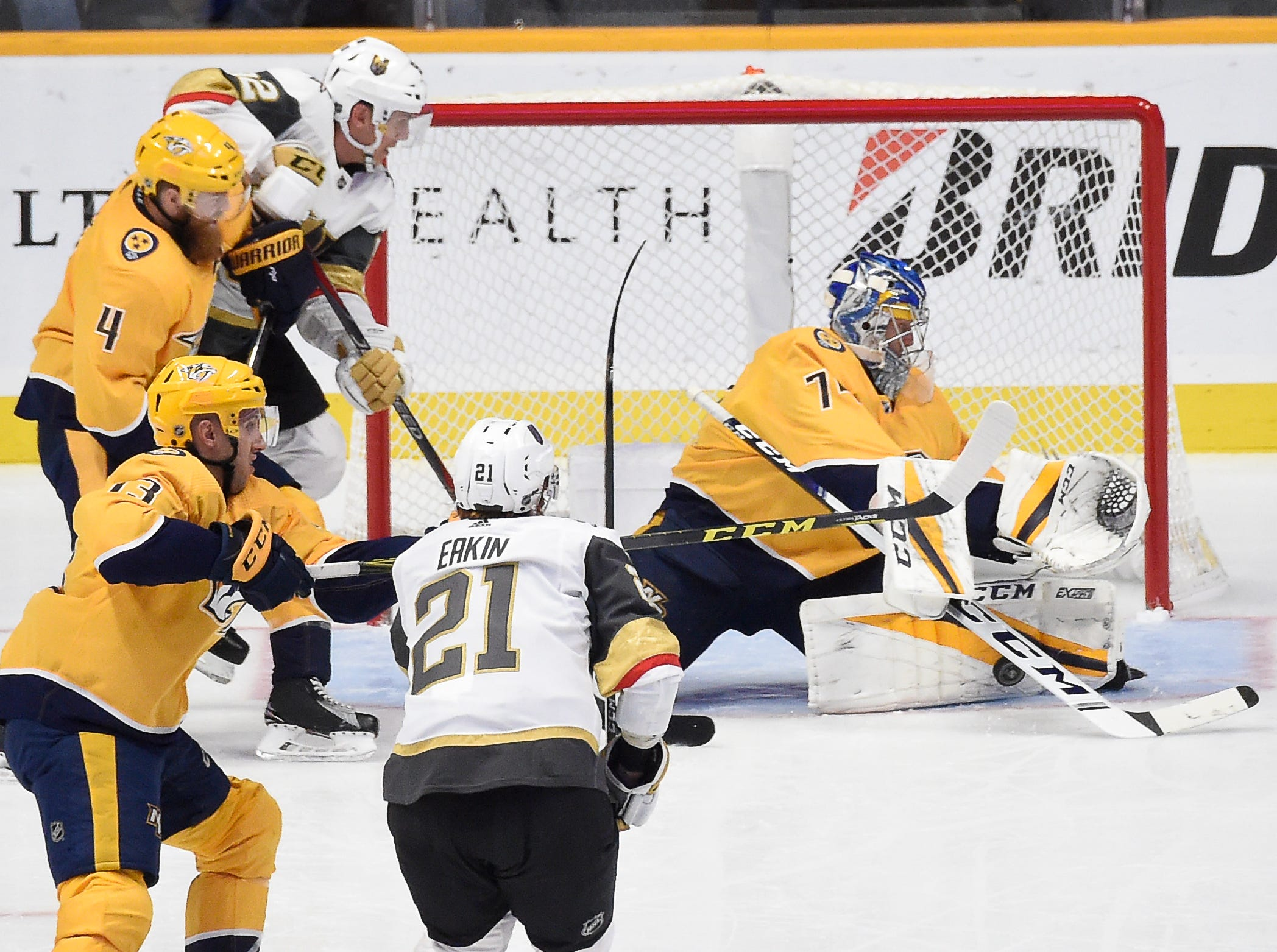Predators goaltender Juuse Saros (74) stops a Golden Knights shot on goal during the first period at Bridgestone Arena Tuesday, Oct. 30, 2018, in Nashville, Tenn.