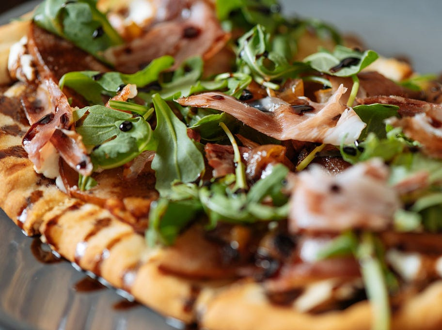 Pear and prosciutto flatbread from Decker & Dyer, inside The Westin Nashville hotel.