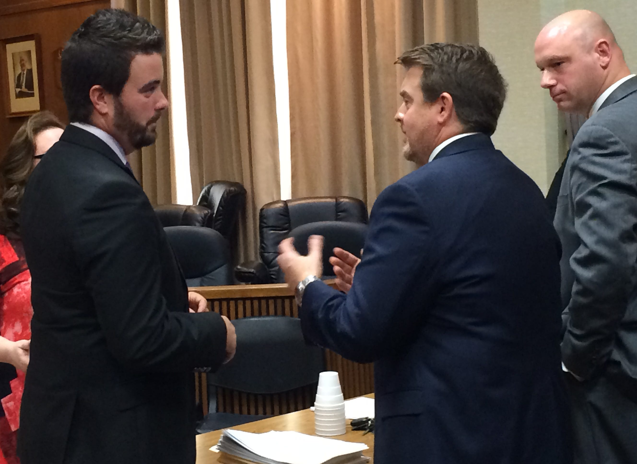 Pictured, from left, Eric Yow, attorney for Erika Castro-Miles, and District Attorney Ray Crouch talk following the hearing for Castro-Miles on Tuesday.