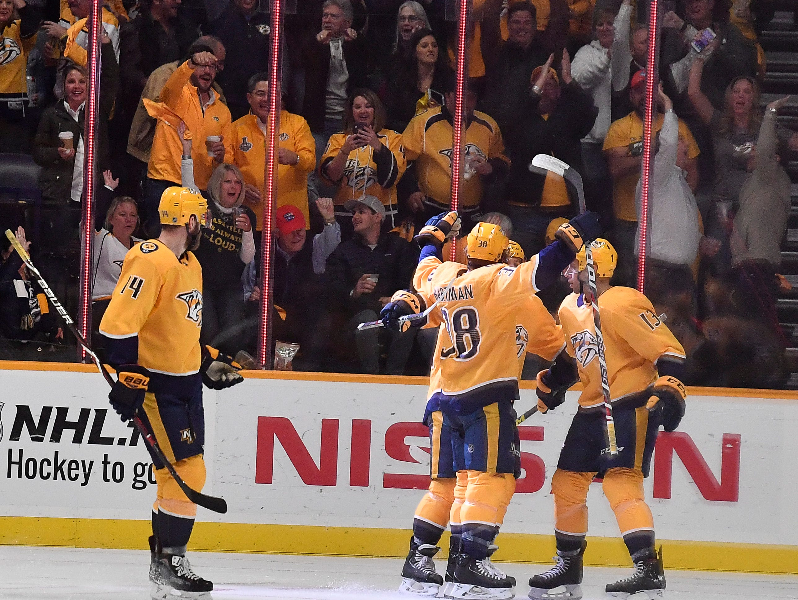 Predators right wing Ryan Hartman (38) is congratulated after his second goal against the Golden Knights during the second period at Bridgestone Arena Tuesday, Oct. 30, 2018, in Nashville, Tenn.
