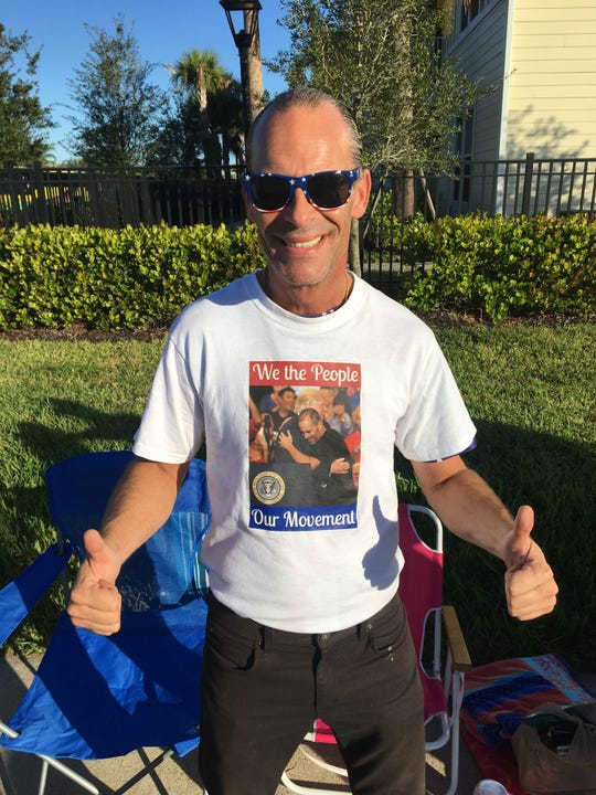Gene Huber, 48 and from West Palm Beach, grows more excited by the minute in anticipating his 13th Donald Trump rally at Hertz Arena on Wednesday, Oct. 31, 2018. The president hugged him during a rally in Melbourne in 2017, and Huber described it as life-changing.