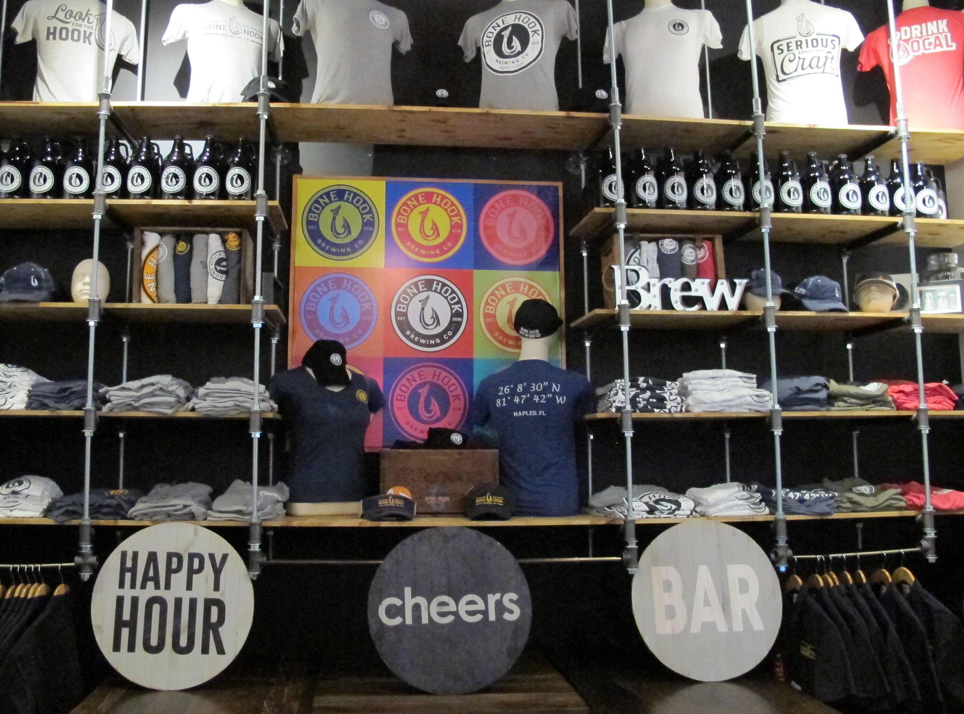 Merchandise available at Bone Hook Brewing Co., which recently expanded its space, creating an entirely new venue with a food menu for lunch and dinner.
