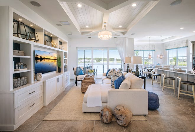 Coach homes at Azure at Hacienda Lakes offer low-maintenance, single-level living and an attached two-car garage.