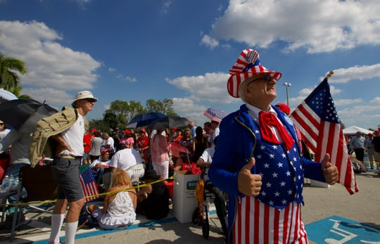 Dennis Deibel, of Fort Myers, dressed as Uncle Sam for his visit to the Make America Great Again rally at Hertz Arena in Estero on Wednesday, Oct. 31, 2018.