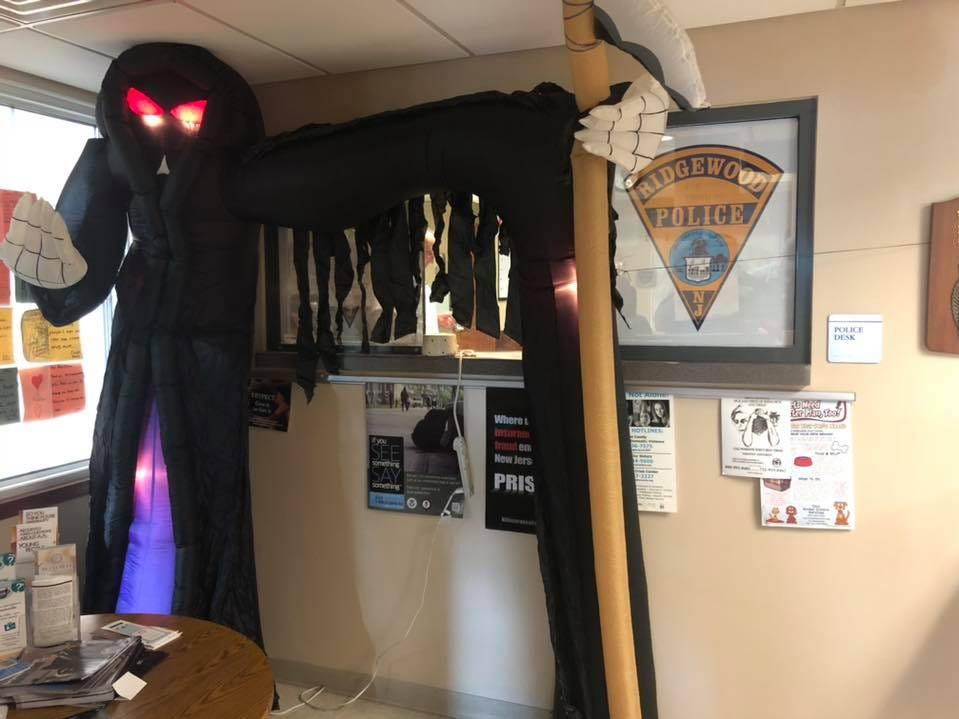 The Ridgewood Police Department building had a guest for Halloween 2018.