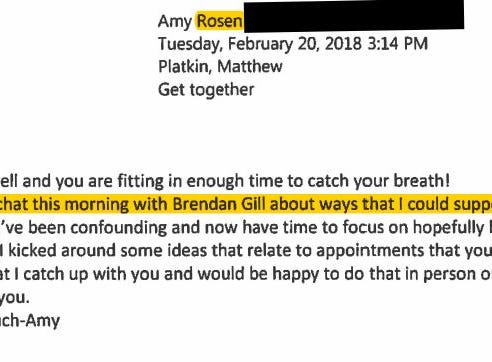 An email from Amy Rosen, who was eventually nominated by Gov. Phil Murphy to the Port Authority board of commissioners.