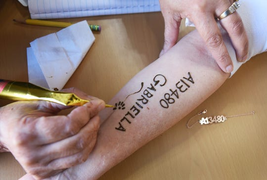 Close up of the arm of Rochelle Goldschmiedt of Teaneck as she has her arm dyed with henna showing her mother's Auschwitz number and the name of her Aunt Gabriella who was killed in Auschwitz, at Amita's Beauty Salon in Lodi on 10/31/18. Having her mother's number and aunt's name on her arm gives Rochelle the strength and inspiration that she needs to run the 2018 TCS New York City Marathon. Rochelle's mother, Magdalena Hilsenrath, was a 14 year old girl in Auschwitz when her entire family (mother, father, brother, and sister) were killed.