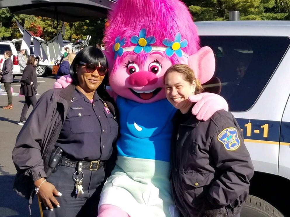 The Bergen County Sheriff's Office attended a trunk-or-treat at the Bleshman School in Paramus for Halloween 2018.