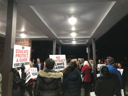 Members of the Glen Rock Education Association outside the Oct. 30 Board of Education meeting.