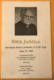The Rev. Alexis Lechanski's biography for his 50th Jubilee celebration in 1984 in Perth Amboy, N.J. The write-up documents the horrors Lechanski experienced and witnessed before and during his imprisonment in Nazi concentration camps during World War II. He was one of 10 Capuchin friars who relocated to Jefferson, N.J. and lived in the monastery at Ringling Manor after they were liberated and served in the area.