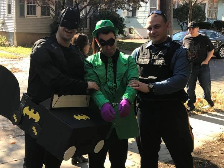 Bogota police helped Batman capture The Riddler when he was found at Bixby School on Halloween 2018.