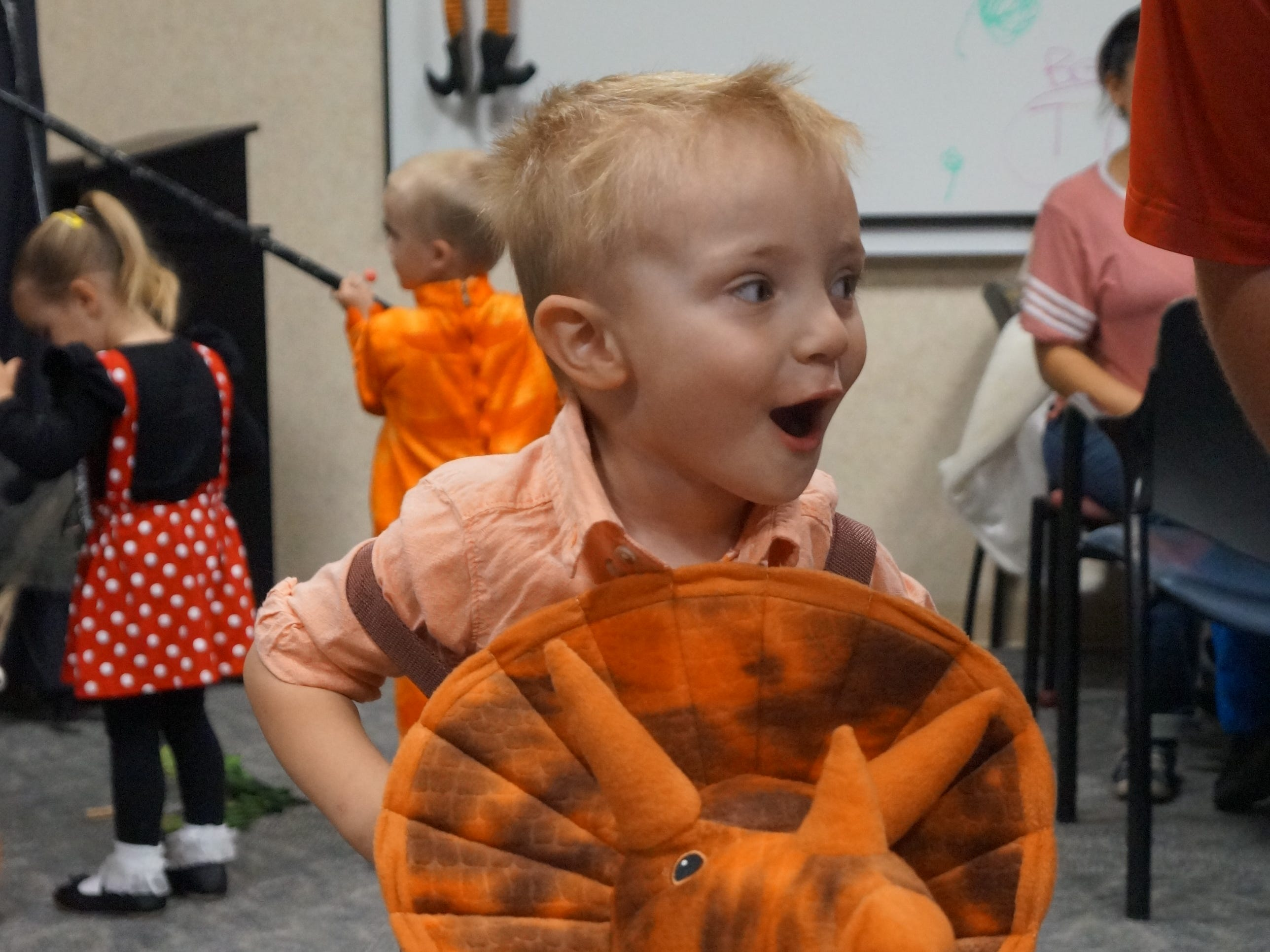 Nolan Wilson plays during the NICU Reunion Carnival at Memorial Medical Center. The hospital was host to a reunion of children who had been helped by the hospital's neonatal intensive care unit. Children came dressed in costume for the second NICU Reunion Carnival, held Tuesday, Oct. 30. The children, parents and hospital staff enjoyed food and games for the afternoon.