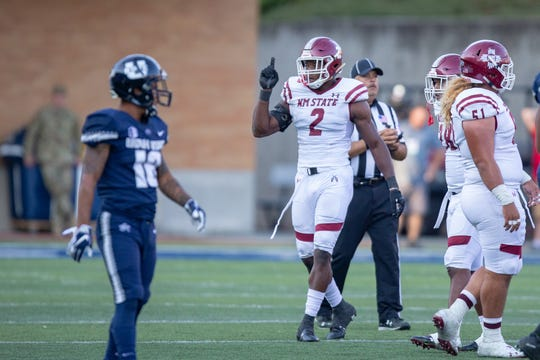 New Mexico State linebacker Terrill Hanks is one of 18 seniors who will play his final home game on Saturday at Aggie Memorial Stadium