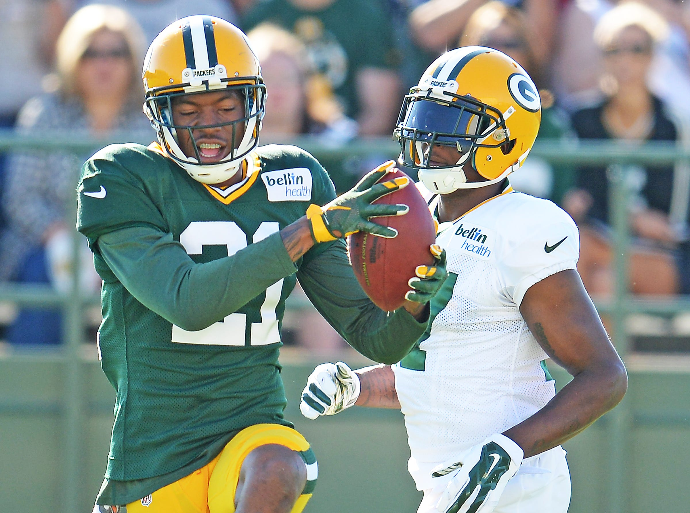 Safety Ha Ha Clinton-Dix (21) during a drill with receiver Davante Adams (17) at Green Bay Packers Training Camp at Ray Nitschke Field August 3, 2015.