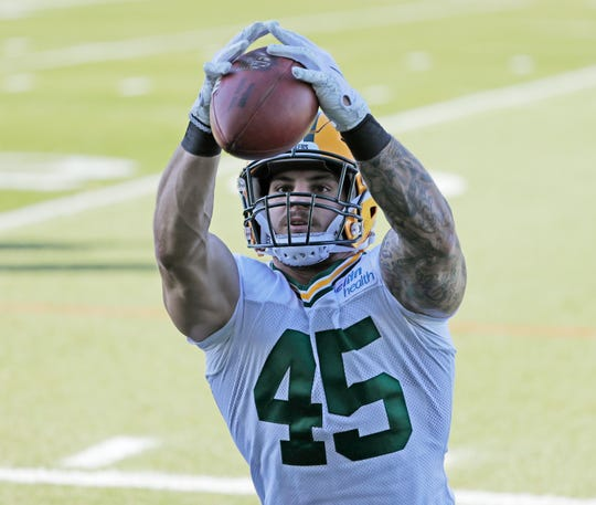 Green Bay Packers fullback Danny Vitale (45) catches during practice at Ray Nitschke Field on Wednesday, October 31, 2018 in Ashwaubenon, Wis.