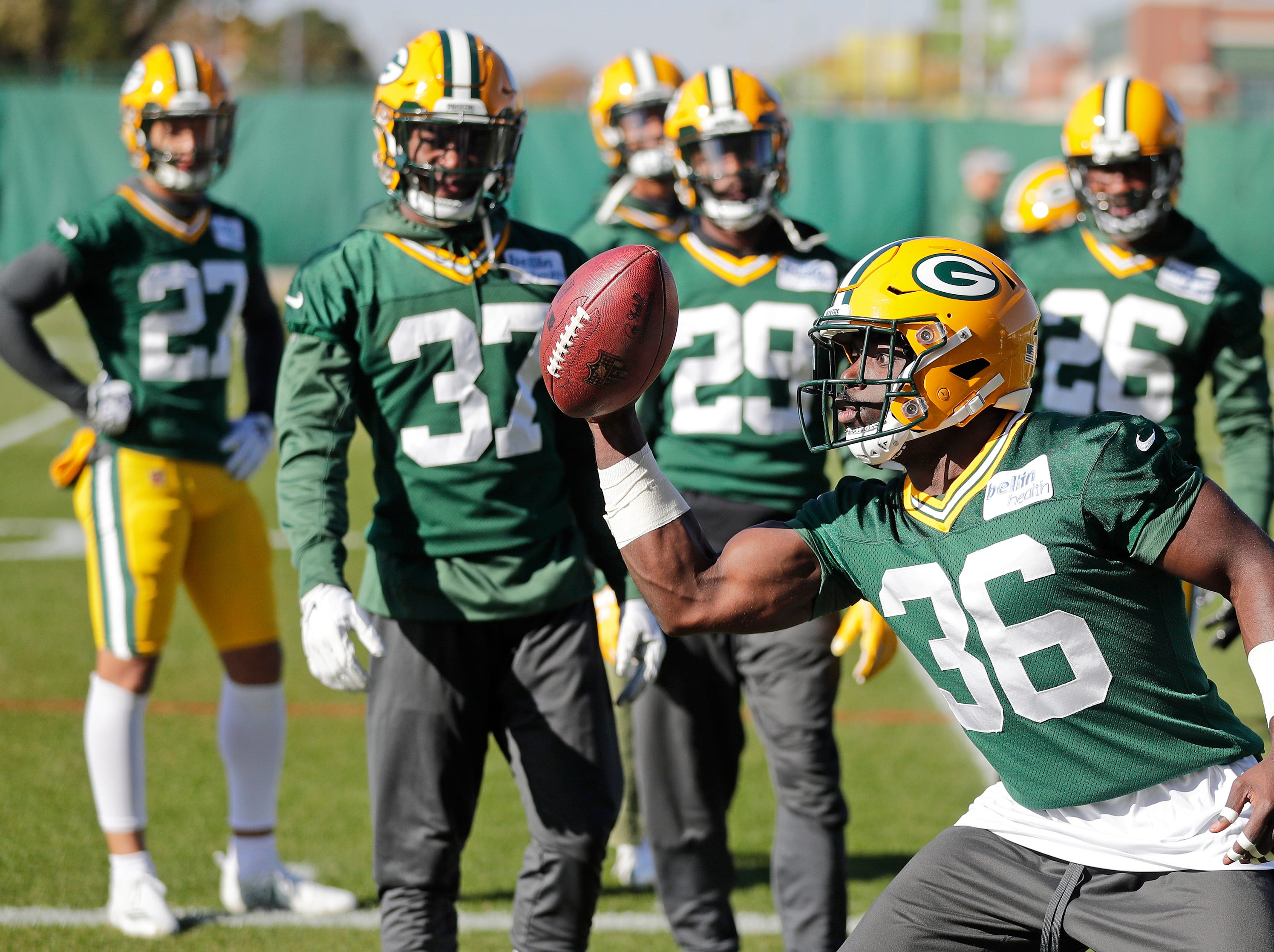 Green Bay Packers defensive back Raven Greene (36) works on one-handed catches during practice at Ray Nitschke Field on Wednesday, October 31, 2018 in Ashwaubenon, Wis.