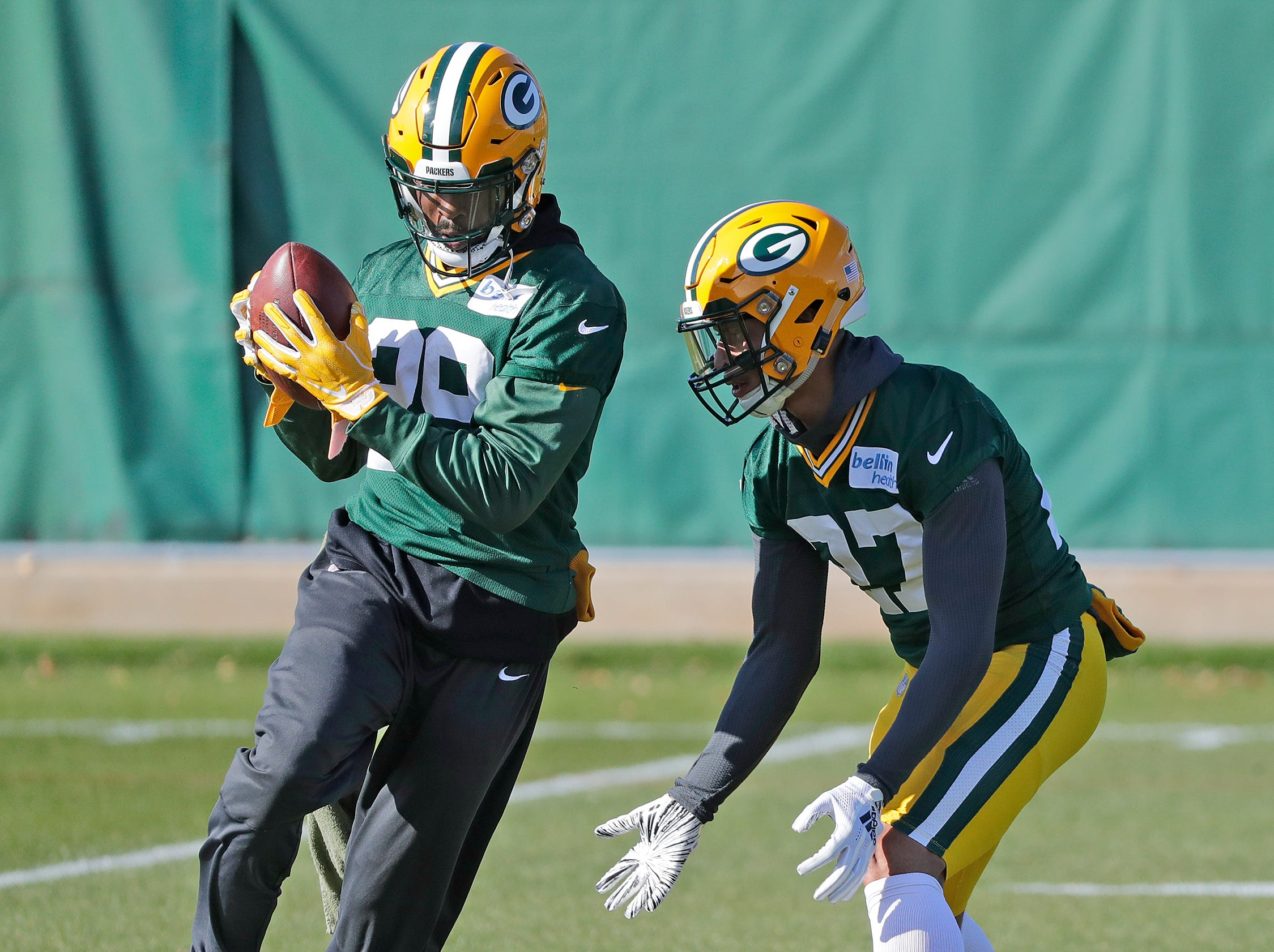 Green Bay Packers strong safety Kentrell Brice (29) and defensive back Josh Jones (27) during practice at Ray Nitschke Field on Wednesday, October 31, 2018 in Ashwaubenon, Wis.