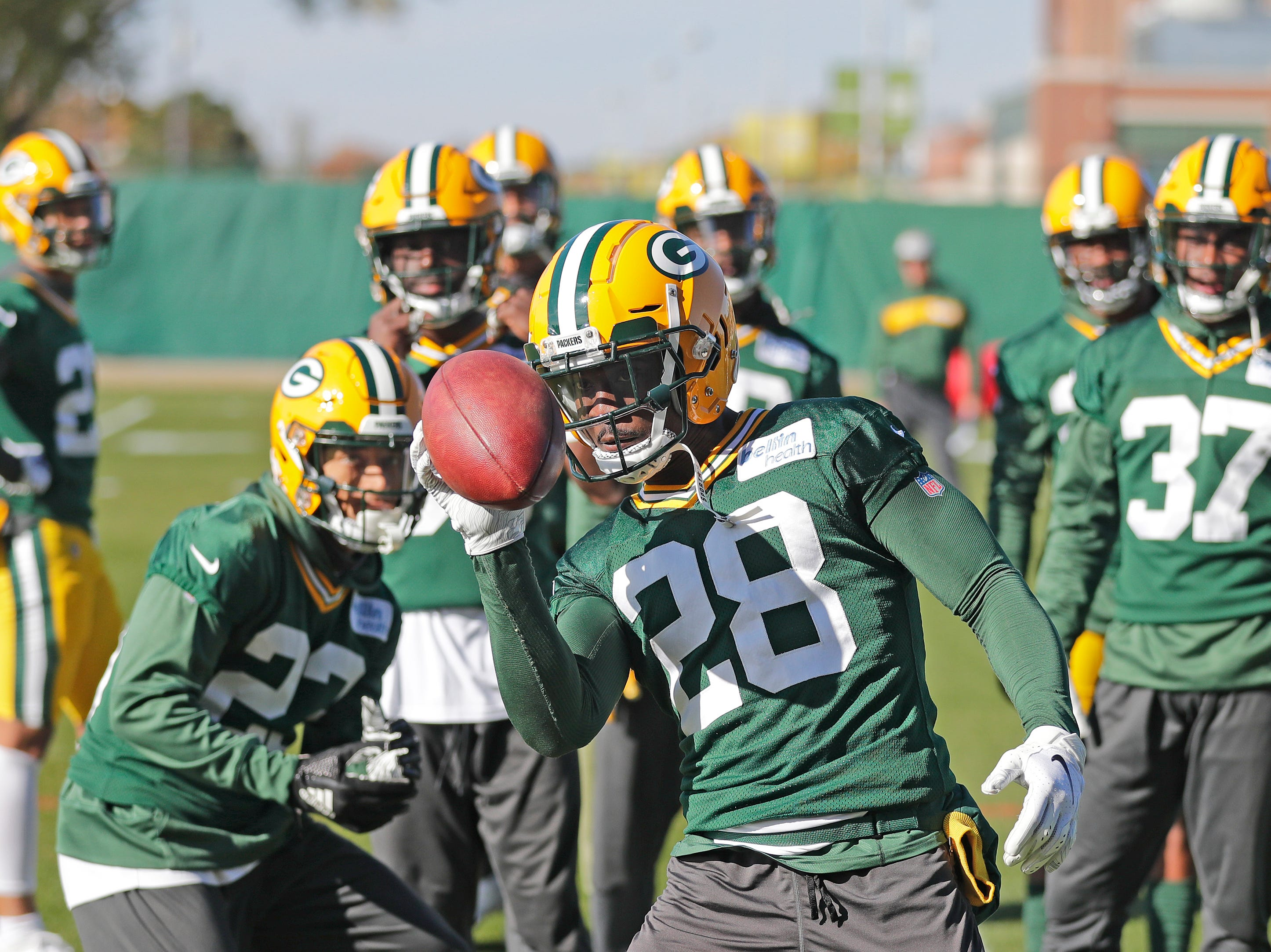 Green Bay Packers defensive back Tony Brown (28) works on one-handed catches during practice at Ray Nitschke Field on Wednesday, October 31, 2018 in Ashwaubenon, Wis.