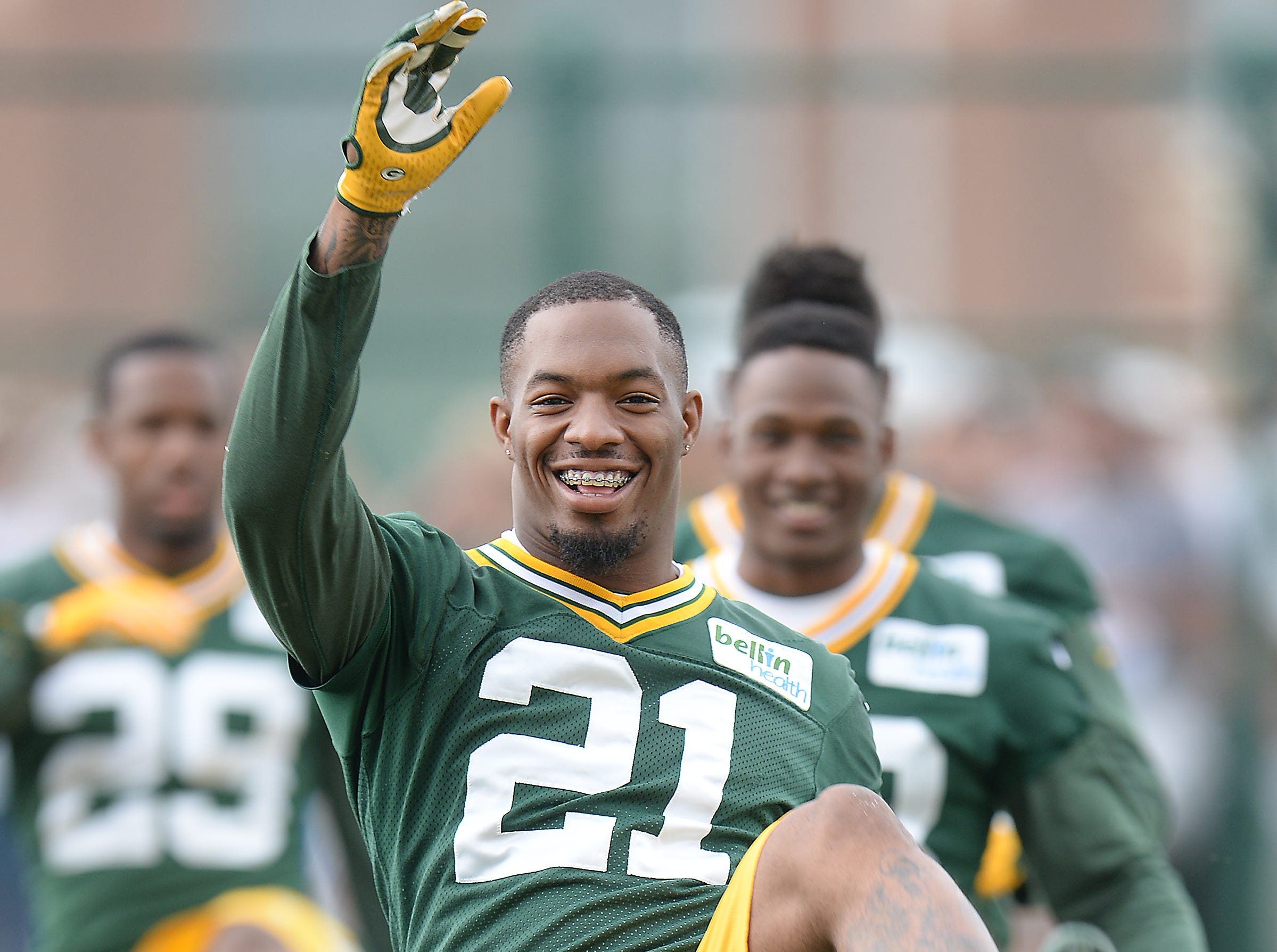 Green Bay Packers safety Ha Ha Clinton-Dix enjoys his warmup exercises during minicamp at Clarke Hinkle Field June 18, 2015.