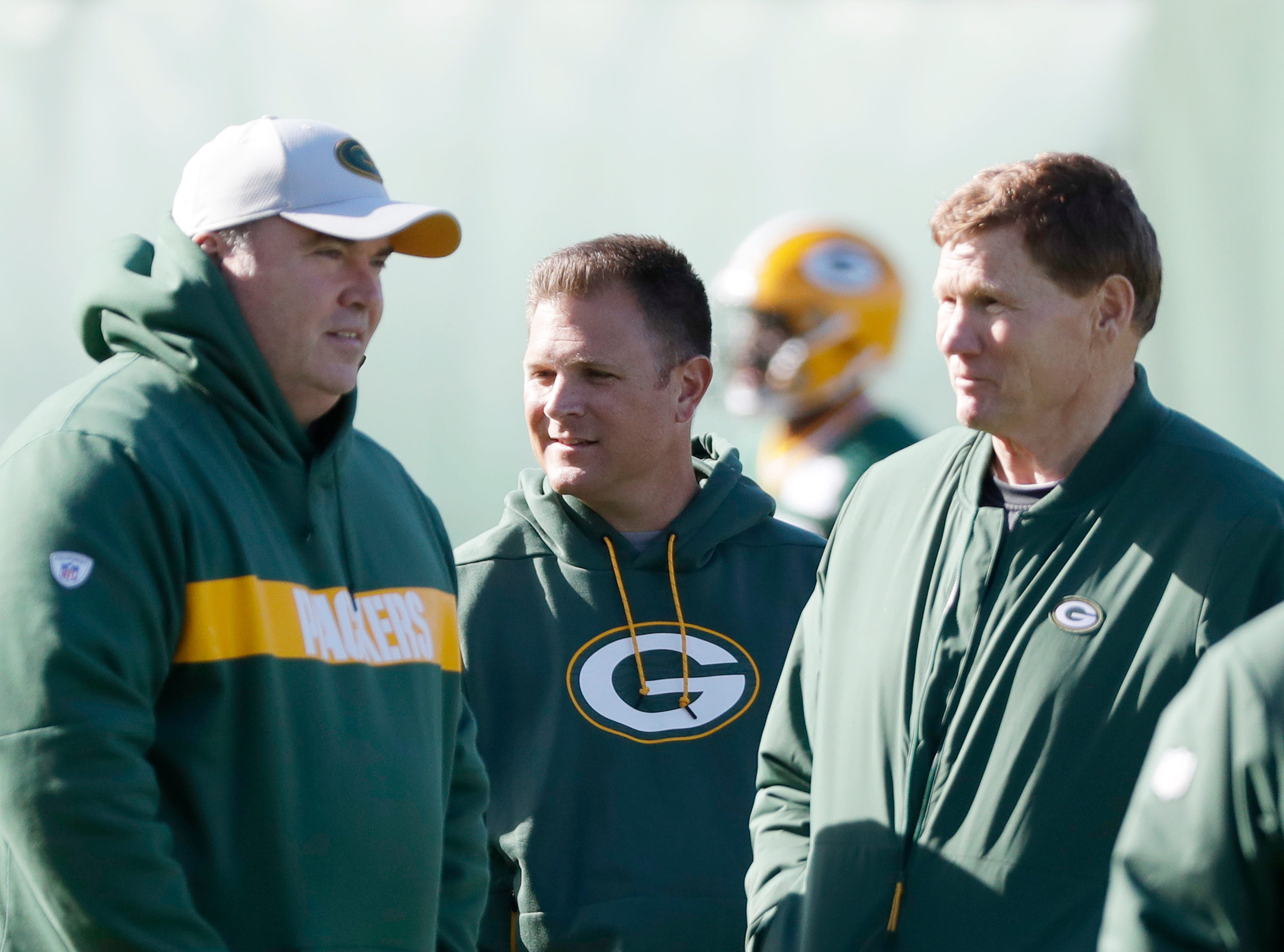 Green Bay Packers GM watches practice with head coach Mike McCarthy and CEO Mark Murphy at Ray Nitschke Field on Wednesday, October 31, 2018 in Ashwaubenon, Wis.
