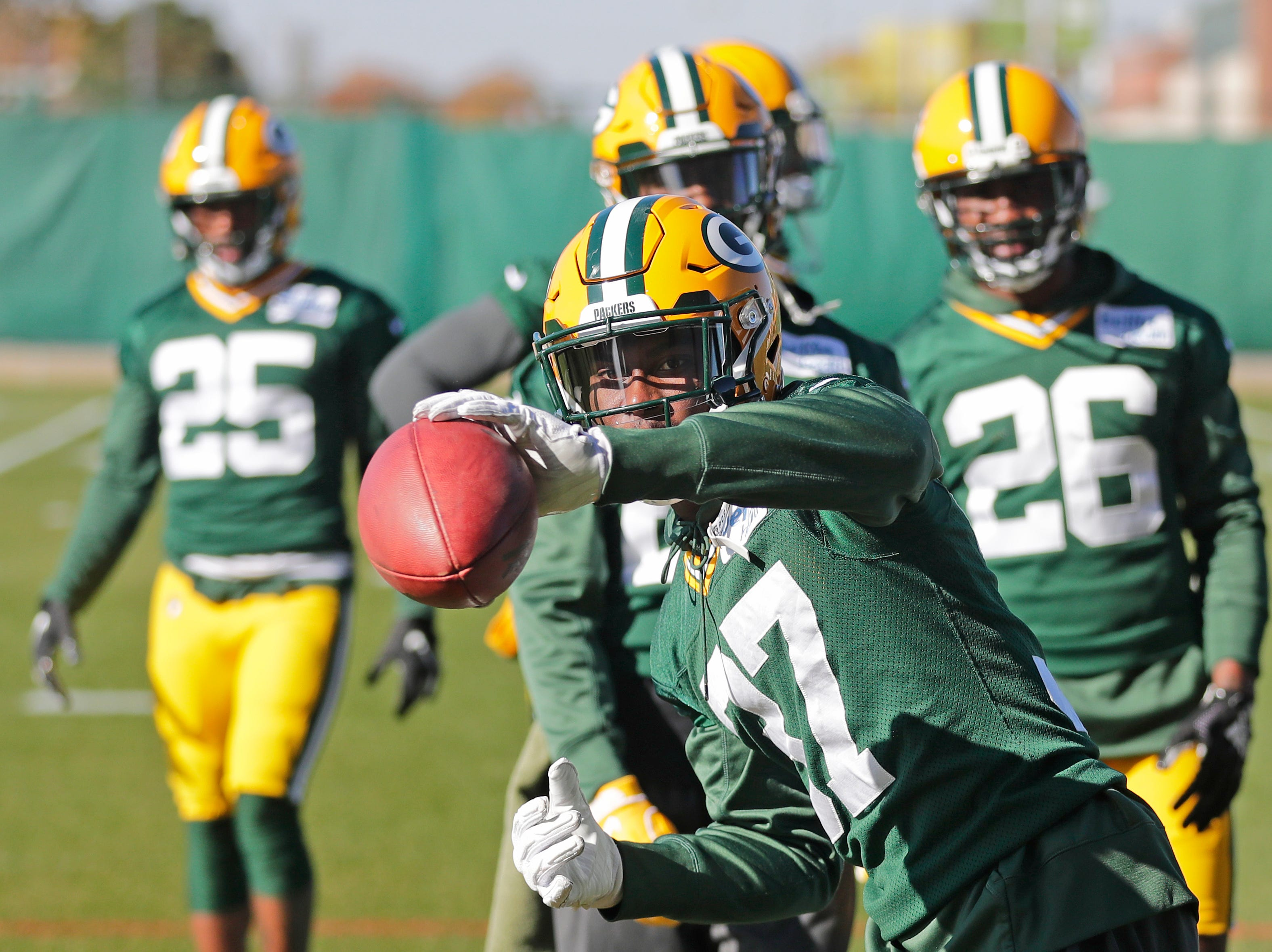 Green Bay Packers cornerback Josh Jackson (37) works on one-handed catches during practice at Ray Nitschke Field on Wednesday, October 31, 2018 in Ashwaubenon, Wis.