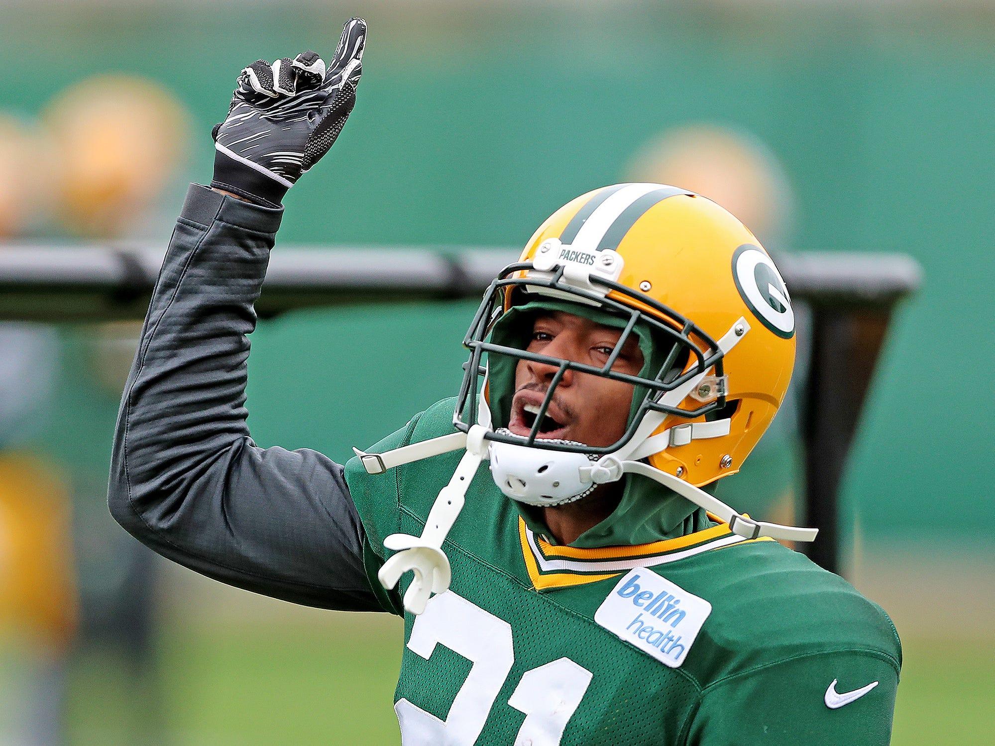 Green Bay Packers defensive back Ha Ha Clinton-Dix (21) has fun between reps during practice on Clarke Hinkle Field Friday, October 12, 2018 in Ashwaubenon, Wis.