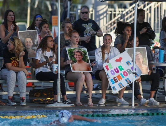 Xavier fans at the water polo match against University High, October 30, 2018.