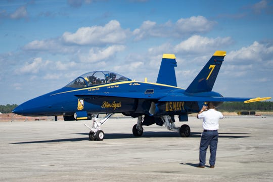 Lt. Cmdr. Andre Webb and #7 pilot of the Blue Angels prepares to take off on Wednesday, Oct. 31, 2018.